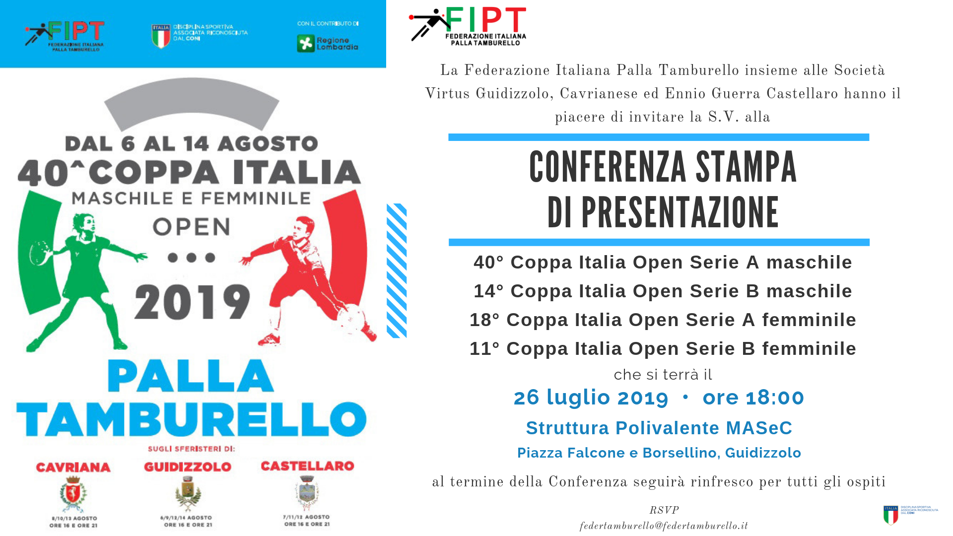 Invito Coppa Italia Open 2019