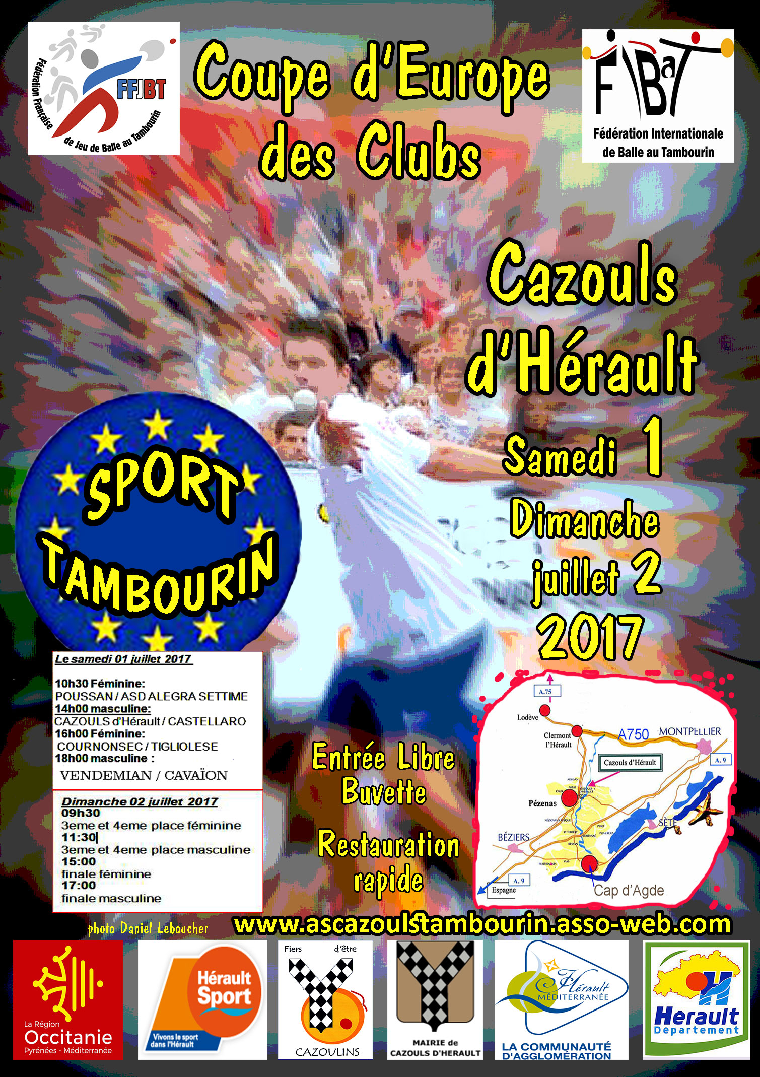 affiche coupe Europe des Clubs Tambourin Cazouls14 juin